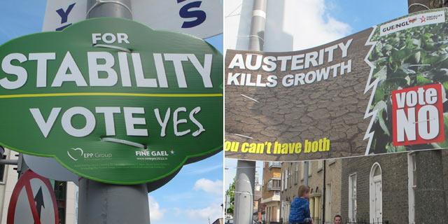 Carteles a favor del 'sí' y del 'no' en las calles de Irlanda. | C. F.