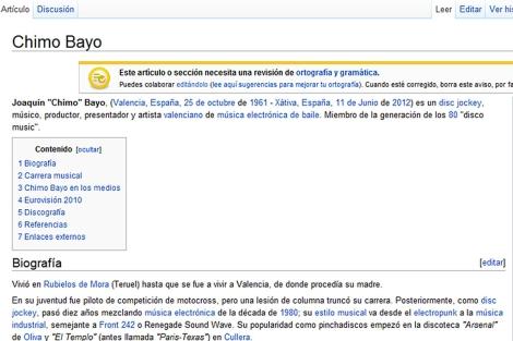 Captura de la referencia de Chimo Bayo en la Wikipedia.