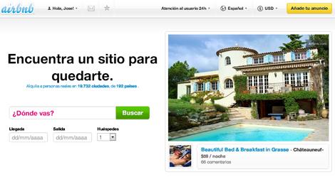 Imagen de la web de Airbnb.