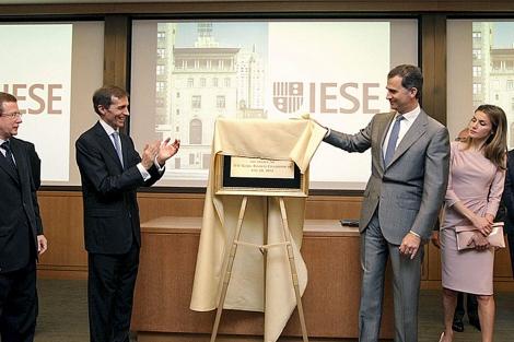 Los Príncipes, en la inauguración de la sede del IESE en Nueva York. | Efe