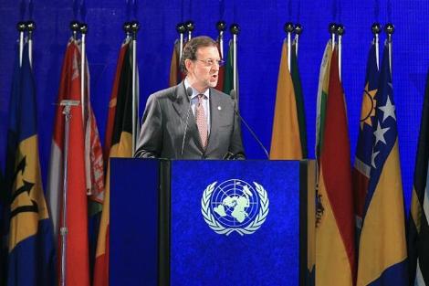 Mariano Rajoy, durante su discurso en Río+20.   Efe