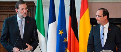 Rajoy y Hollande, tras la reunión en Roma del viernes.   AFP