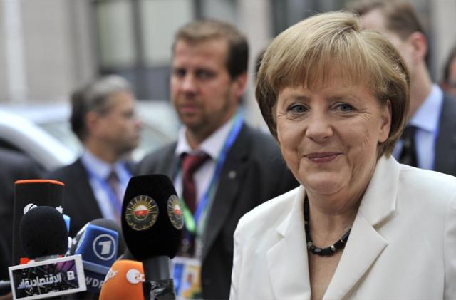 La canciller alemana, Angela Merkel, a su llegada a la cumbre de los líderes europeos.   Afp
