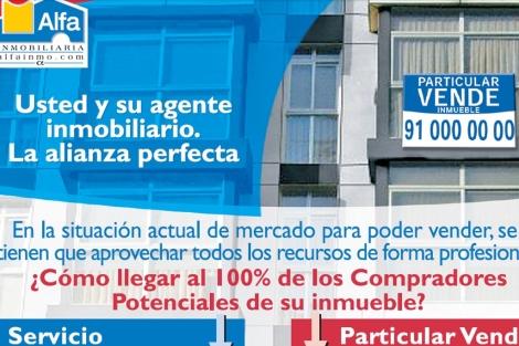 Cartel de la campaña con la que Alfa Inmobiliaria busca propietarios que vendan.
