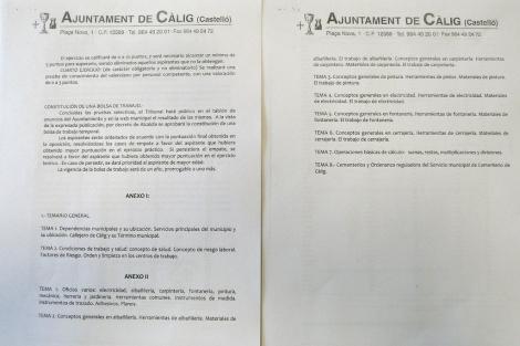 Documentos del Ayuntamiento con el temario requerido para la oposición.
