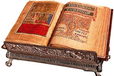 Imagen de la obra, con el Libro de Turpin. | Kalipedia
