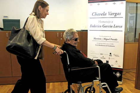 Chavela Vargas, esta mañana, en Madrid.   Efe
