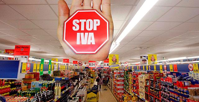 Campaña de los supermercados Lidl contra el incremento del IVA.