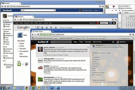 Ejemplo de ventanas de Twitter y Facebook