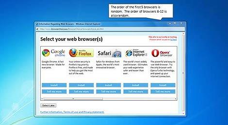 Pantalla de selección de navegadores que millones de usuarios no han visto.