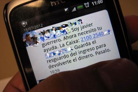 El mensaje SMS que se ha enviado desde el móvil de Guerrero.