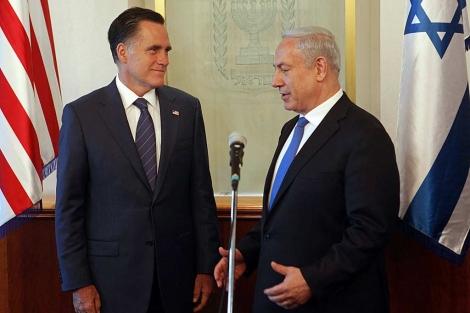 Romney y Netanyahu, hoy, durante el encuentro.   Efe