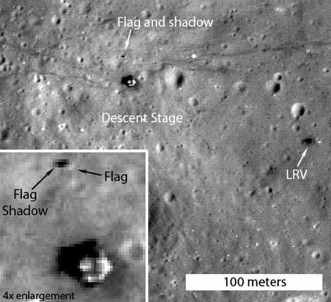 Imágen de la bandera del Apolo XVII en la Luna. | NASA