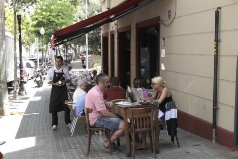 Terraza de un restaurante en Barcelona.   A. Moreno