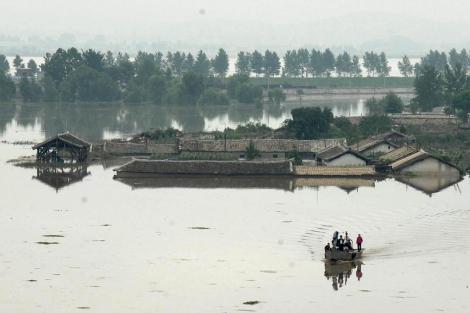 Imagen de la ciudad de Anju tras las lluvias torrenciales. | Efe