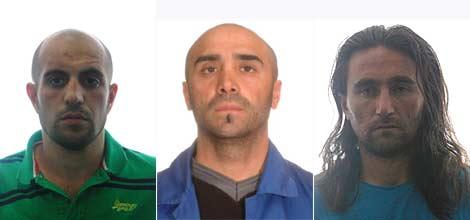 Los tres presuntos islamistas, en fotografías facilitadas por la Policía.
