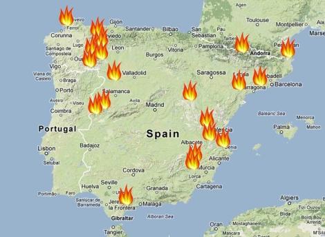 incendios mapa El 65% de los incendios forestales ha afectado a espacios  incendios mapa