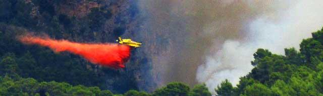 Un avión deja caer su carga de agua en Orient. | C. Forteza