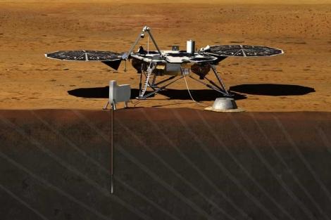 Recreación artística de la misión InSight. | NASA