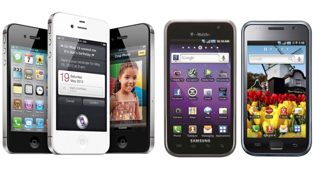 Composición de móviles de Apple y Samsung. | Efe