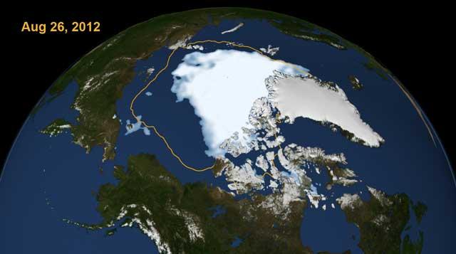 La zona blanca marca la extensión del hielo el 26 de agosto. La línea delimita la extensión de la capa de hielo media entre 1979-2010.   NASA