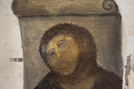 La restauración de la pintura de 'Eccehomo'.| Pedro Etura