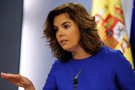Sáenz de Santamaría, en rueda de prensa tras el Consejo de Ministros. | Bernardo Díaz