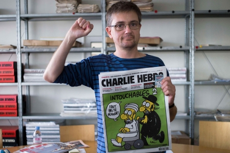 El editor del satírico y autor de las caritaturas, Charb.   AFP