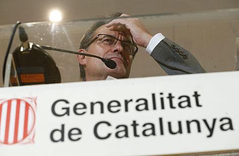 Artur Mas, en rueda de prensa en la sede madrileña de la Generalitat catalana. | Efe