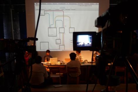 Integrantes de PLAYdramaturgia en un taller de streaming en el Terrario. | Intermediae