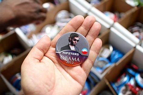 La chapa en apoyo de la campaña de Obama.  El Mundo
