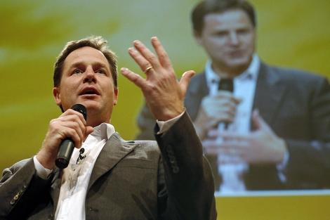 Nick Clegg, viceprimer ministro, en la conferencia de su partido en Brighton. Reuters