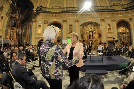 La vicepresidenta de la Comisión Europea, Viviane Reding, en el acto en Cádiz. | C. Zambrano