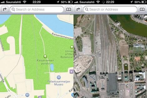 Mapas de iOS 6 (i) convierte una estación de tren en Helsinki, en un parque.| http://theamazingios6maps.tumblr.com/
