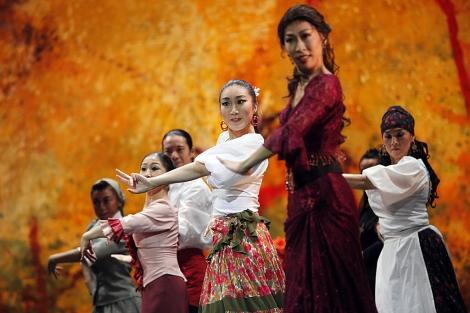 Bailaoras del ballet Shoji Kojima Flamenco, en 'La Celestina'.   E. Lobato