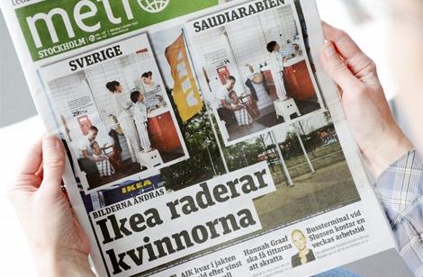 Portada del diario 'Metro', con las dos versiones de Ikea.   Foto: Efe
