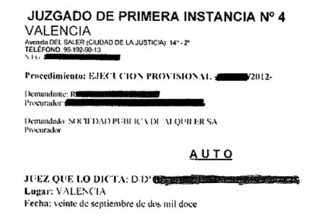 Primera página del auto que ampara la 'ejecución provisional' de la sentencia. [Pdf]
