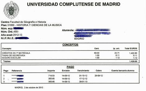 Recibo de una matrícula de Hª y Cc. de la Música en la UCM en 1ª convocatoria: 1.422 euros.