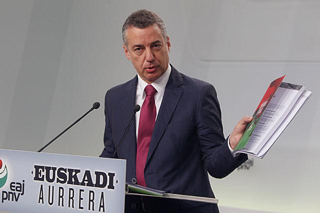Urkullu presenta el programa electoral del PNV de cara al 21-O.   I. Andrés