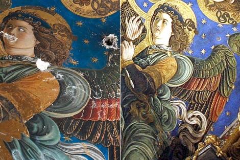 Detalle de los frescos de la Catedral de Valencia antes y después de su restauración. | E.M. | J.Cuéllar