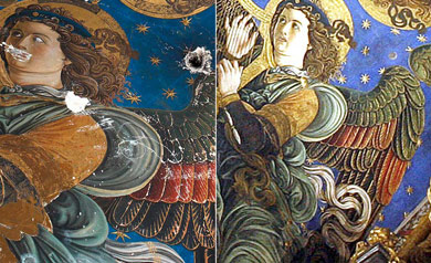Detalle de los frescos antes y después de su restauración.   E.M.   J.Cuéllar