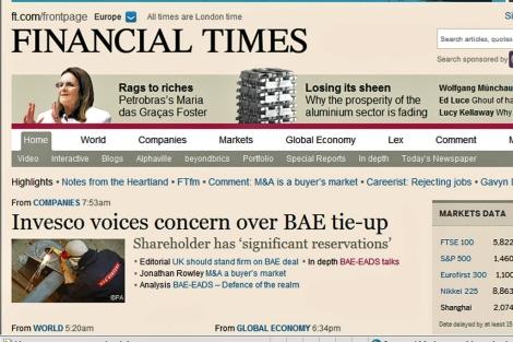 Portada 'on line' del 'Financial Times'.