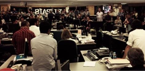 Asamblea de los trabajadores de 'El País', este lunes.   Foto: @antoniofraguas