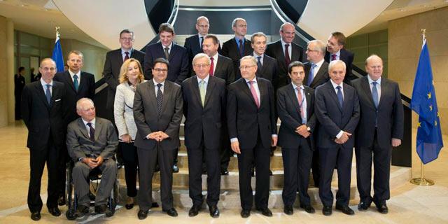 Foto de familia del Eurogrupo en su reunión en Luxemburgo. | Efe