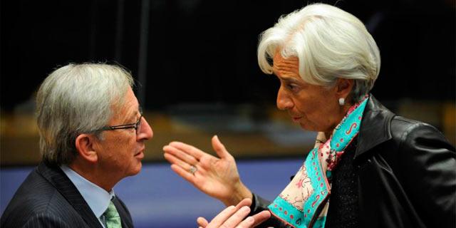 El presidente del Eurogrupo, Jean Claude Juncker, y la directora gerente del FMI, Christine Lagarde. | Afp