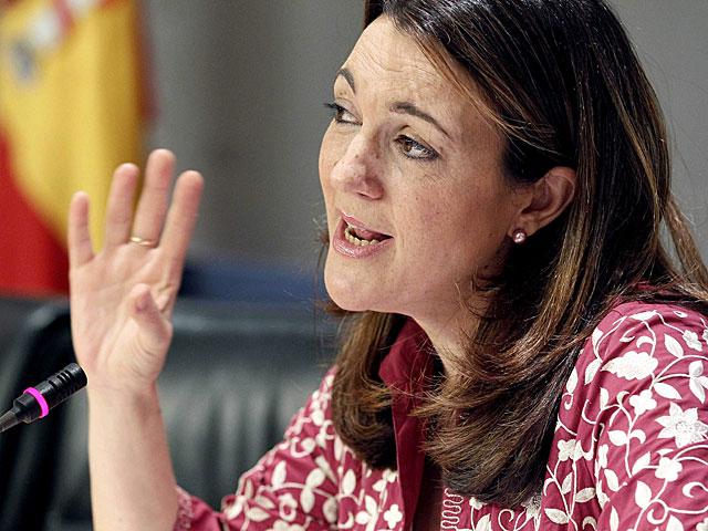 Soraya Rodríguez, en la rueda de prensa de hoy. | Paco Campos / Efe