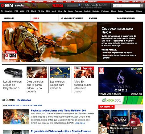 Pantalla del nuevo sitio IGN España.