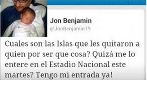 El polémico tuit de Jon Benjamin, embajador de Reino Unido en Chile.