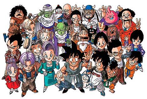 Son Goku, rodeado de algunos de los personajes de la serie.