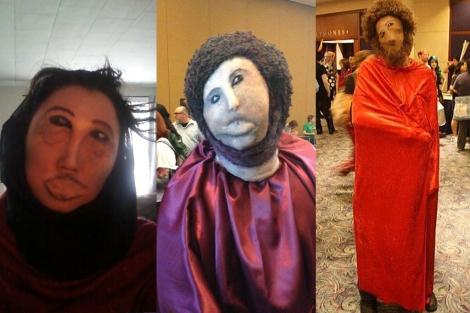 Tres versiones del disfraz, colgadas en Internet.| Redditokki, @cilraenhelyan, Spinjump